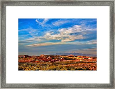 Framed Print featuring the photograph Valley Of Fire Sunset by Joe Urbz