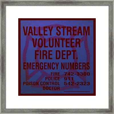 Valley Stream Fire Department In Blue Framed Print by Rob Hans