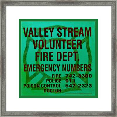 Valley Stream Fire Department In Irish Green Framed Print by Rob Hans