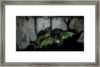Framed Print featuring the painting Vampire Bats  by Nada Meeks