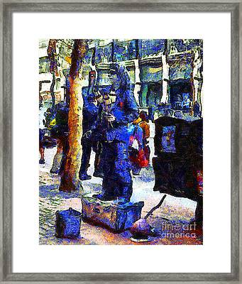 Van Gogh Is Captivated By A San Francisco Street Performer . 7d7246 Framed Print by Wingsdomain Art and Photography