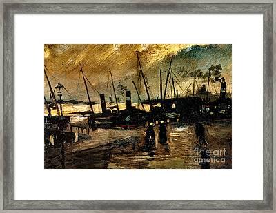Van Gogh Le Quai Huile Sur Toile 1885  Framed Print by Pg Reproductions