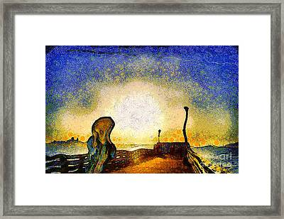 Van Gogh Screams On The Berkeley Pier Under A Starry Night . Img3188 Framed Print by Wingsdomain Art and Photography