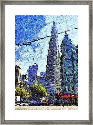 Van Gogh Sips Absinthe And Takes In The Views From North Beach In San Francisco . 7d7431 Framed Print by Wingsdomain Art and Photography