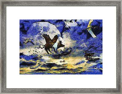 Van Gogh.s Flying Pig 2 Framed Print by Wingsdomain Art and Photography