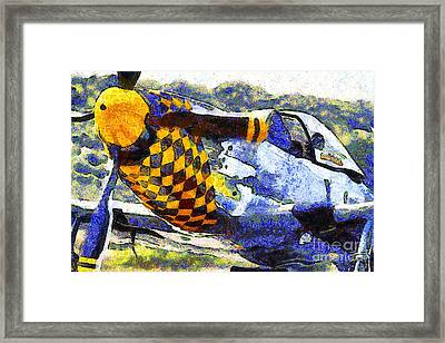 Van Gogh.s P-51 Mustang Fighter Plane . 7d15598 Framed Print by Wingsdomain Art and Photography