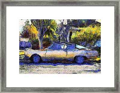 Van Gogh.s Plymouth Barracuda In Suburbia . 7d12724 Framed Print by Wingsdomain Art and Photography