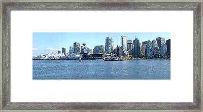 Vancouver Bc Skyline Canada Place Panorama Canada. Framed Print by Gino Rigucci