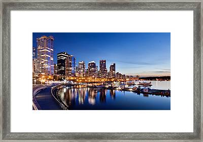 Vancouver City Lights At Dusk Framed Print by Alexis Birkill