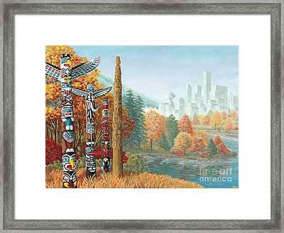 Vancouver - Coast Salish Territory Framed Print by Kim Hunter aka INDIGO