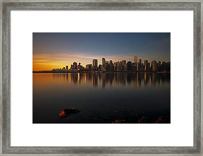 Vancouver Golden Sunrise Framed Print by Jorge Ligason