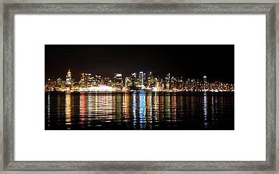 Vancouver Skyline At Night Framed Print