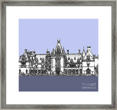 Vanderbilt's Biltmore Estate In Blue  Framed Print by Building  Art