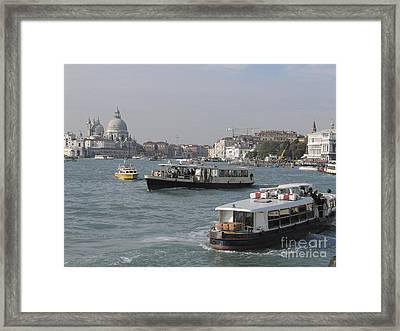 Vaporettos . Venice Framed Print by Bernard Jaubert