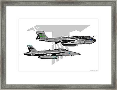 Vaq-135 Prowler And Growler Framed Print by Clay Greunke