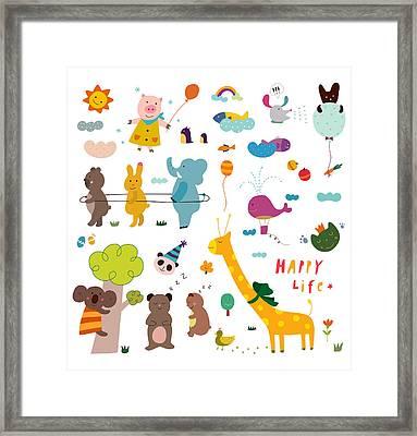 Various Animals Framed Print by Eastnine Inc.