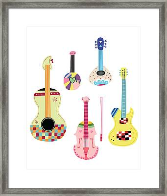 Various Kinds Of Stringed Instruments Framed Print