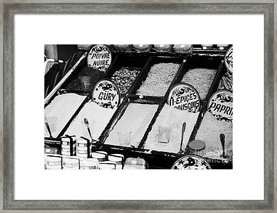 Various Spices Including Curry Black Pepper Couscous And Papricka On Stall At The Market In Nabeul Framed Print by Joe Fox