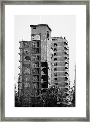 Varosha Forbidden Zone With Salaminia Tower Hotel Abandoned In 1974 Turkish Invasion Famagusta Framed Print by Joe Fox