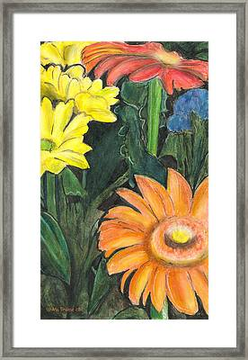 Framed Print featuring the drawing Vasco's Flowers by Ana Tirolese