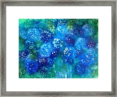 Vase Of Blue Hydrangeas Framed Print by Kelli Perk