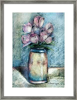 Vase Of Pink Tulips Framed Print by Arline Wagner