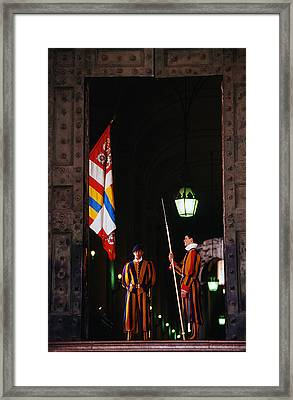 Vatican Swiss Guards Framed Print by Carlos Diaz