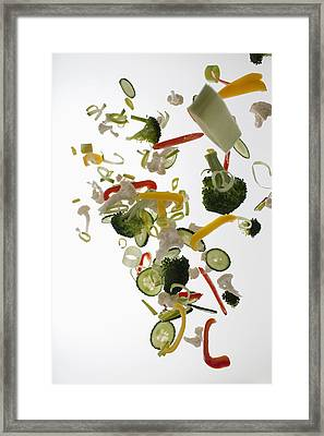 Vegetables Against A White Background Framed Print by Dual Dual