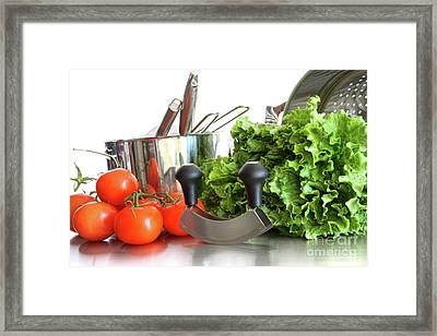 Vegetables With Kitchen Pots And Utensils On White  Framed Print by Sandra Cunningham