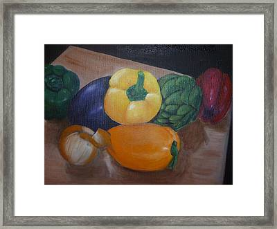 Veggies In Waiting Framed Print by Mary Dunn