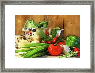 Veggies On The Counter Framed Print by Sandra Cunningham