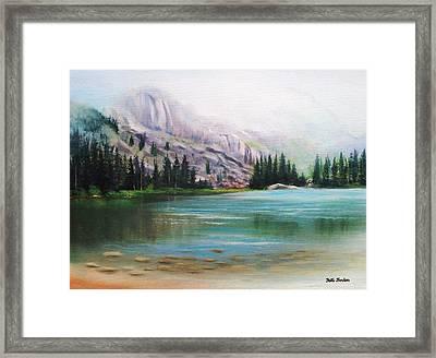 Veil Over Elk Lake Framed Print by Patti Gordon