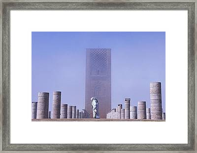 Veiled Woman Walking Infront Of Hassan Framed Print by Axiom Photographic
