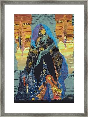 Veiled Woman With Spirit Child Framed Print by Roberta Baker