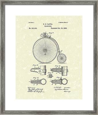 Velocipede Latta 1888 Patent Art Framed Print by Prior Art Design