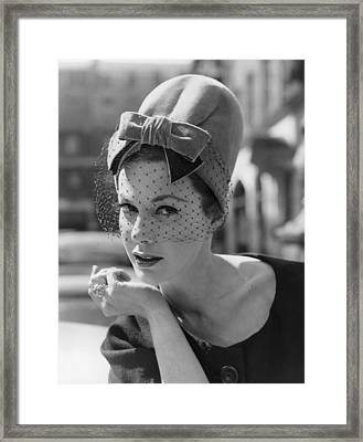 Velvet Pillbox Hat Framed Print by Fox Photos