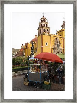 Vending Cart Outside Of The Basilica De Framed Print by Krista Rossow