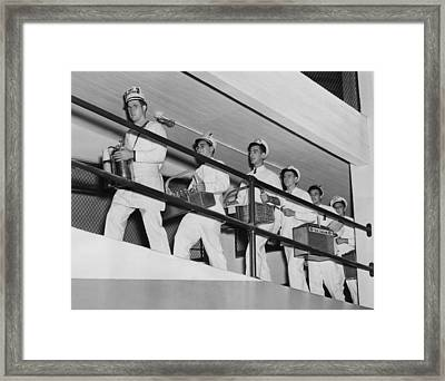 Vendors At Yankee Stadium For The World Framed Print by Everett