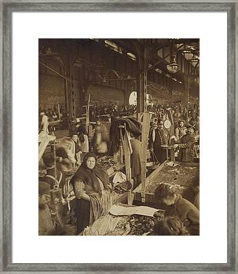 Vendors Selling Fish At A Market In New Framed Print by Everett