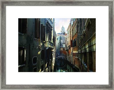 Venetian Canal Framed Print by Jan Vidra