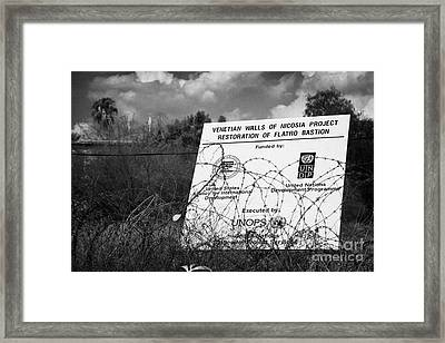 venetian walls restoration project in the UN buffer zone in the green line dividing nicosia cyprus Framed Print