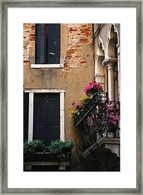 Venezia Balcony Framed Print by Carlos Diaz