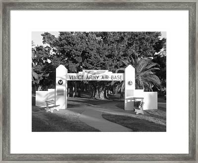 Venice Army Air Base Entrance Framed Print by John Myers