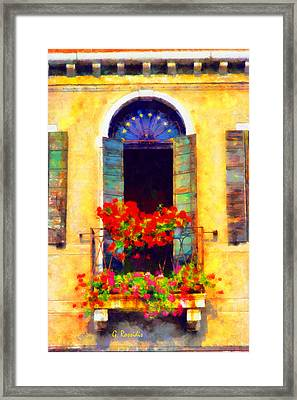 Venice Balcony Framed Print by George Rossidis