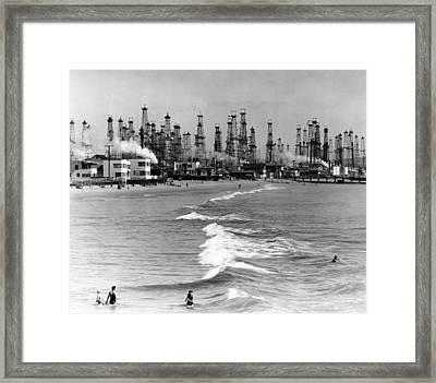 Venice Beach View Of Oil Derricks. Two Framed Print by Everett