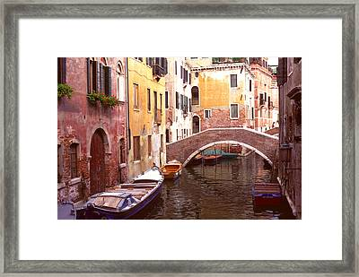 Venice Bridge Over A Small Canal. Framed Print