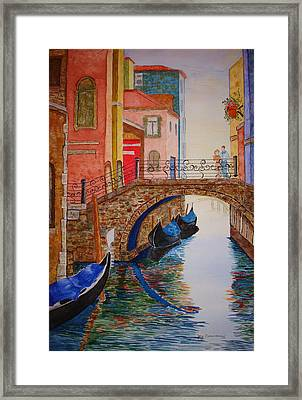 Framed Print featuring the painting Venice Canal by Joy Braverman