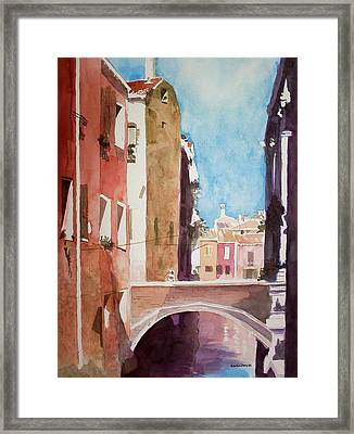 Framed Print featuring the painting Venice Canal by Richard Willows
