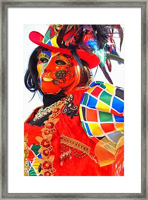 Framed Print featuring the photograph Venice Carnival by Graham Hawcroft pixsellpix