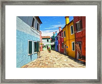 Venice Italy - Burano Island Alley Framed Print by Gregory Dyer